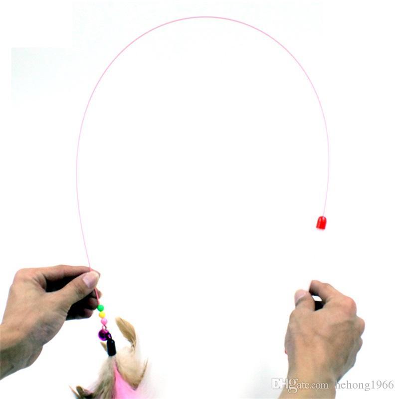 Стальной проволоки Cat Stick природных раскрашенные перо играть взаимодействия игрушки с небольшой колокол Антиржавейный Бесплатная доставка 2 1 Гц V