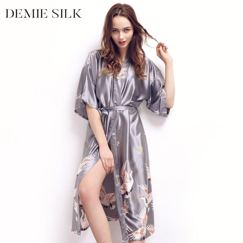 a8424f5a841 2019 Demiesilk Women Imitation Silk Plus Size Sleep Lounge Robes Half  Sleeve Long Sleep Wear Night Dress Robes 580 From Tutucloth
