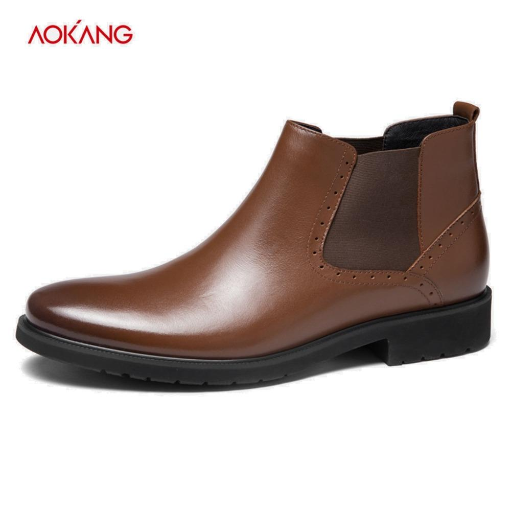ff4b50c7f38 AOKANG 2018 Winter Boos Men Comfortable Shoes Male Genuine Leather Men s  Cowboy Western Martin Ankle Boots