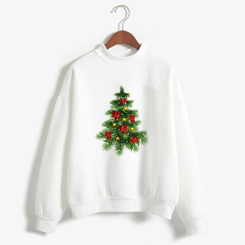 2019 2018 christmas sweatshirt cute christmas tree print white warm pullover women winter autumn large size