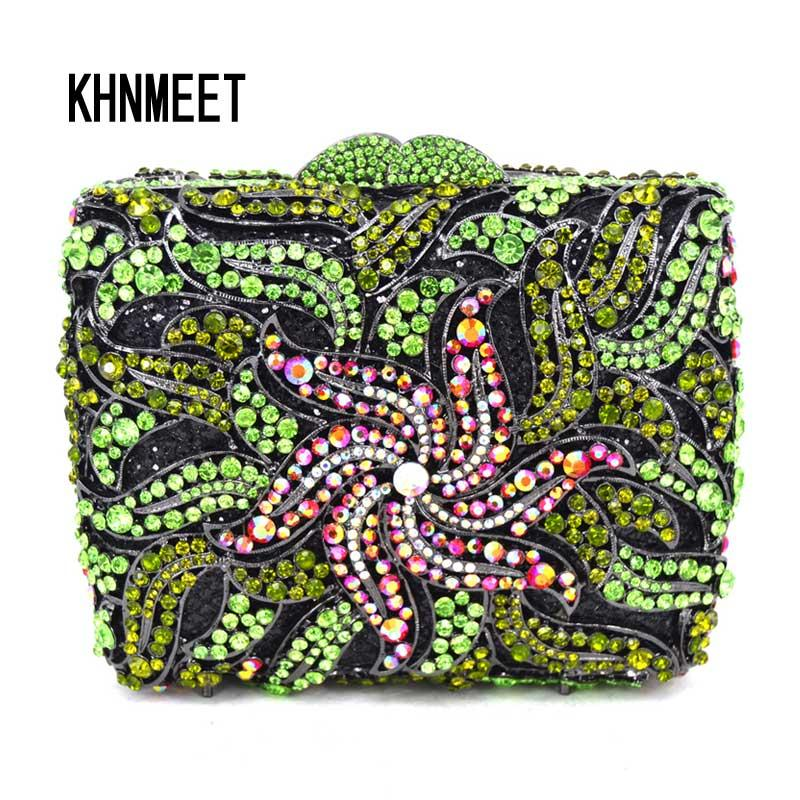 85fca5f79a Luxury Fashion Green Crystal Evening Clutch Bag Women Wedding Flower Day  Clutches Pink Female Banquet Boutique Party Purse SC485 Bags Online  Handbags On ...