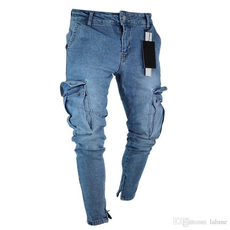 b9bd35321a Compre Pantalones Vaqueros Para Hombre Pantalones De Bolsillo De Mezclilla  Verano Otoño Fino Slim Jeans Rectos De Ajuste Regular Elasticidad Hombre  Elástico ...