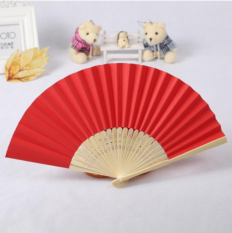 Hot Selling Wedding Favors Gifts Elegant Solid Color Silk Bamboo Fan