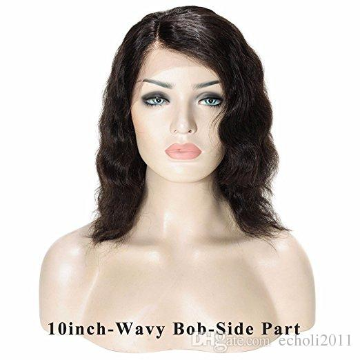 8A Side Part Bob Styled Short Wet And Wavy pre plucked Full Lace Wig Brazilian Human Hair Wig For Black Women