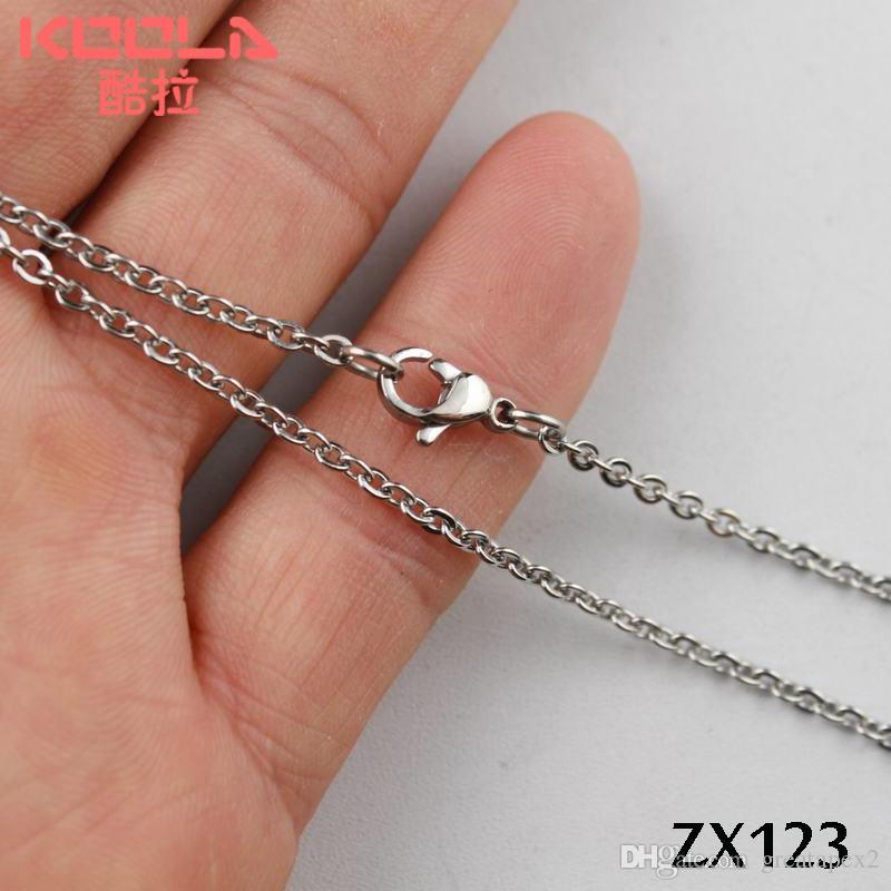 de acero inoxidable de alta calidad 20 unids / lote colgante en forma de O collar de cadena de joyería de las mujeres promoción de ventas 2.4mm ZX123