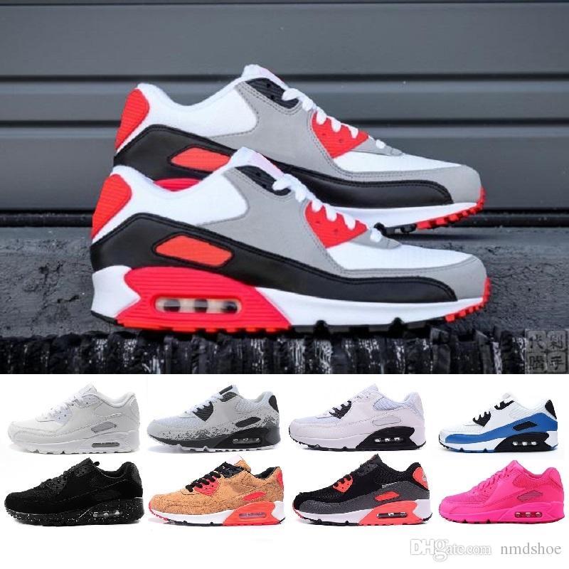 online store 542f0 42a3e Acheter Nike Air Max Hommes Sneakers Chaussures Classique 90 Hommes Et  Femme Chaussures De Course Noir Rouge Blanc Sport Entraîneur Air Coussin  Surface ...