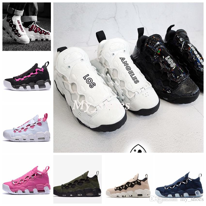 2018 New Air More Money QS Men Basketball Shoes Scottie Pippen Mens Black Blue Green Uptempo Sneakers Trainers Basket Ball Man Sports Shoes