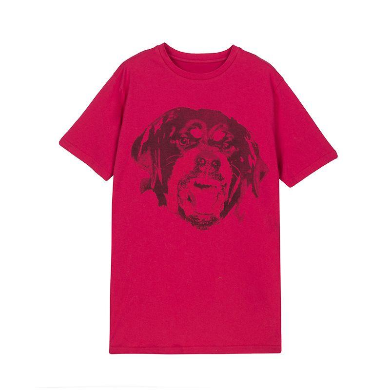 Kadın 2018 İlkbahar Yaz Kırmızı Köpek Kafası Baskı Kısa Kollu T gömlek Pamuk Gevşek Marka Tasarımcı Kadın Moda Tops Tees Tshirt S-XL