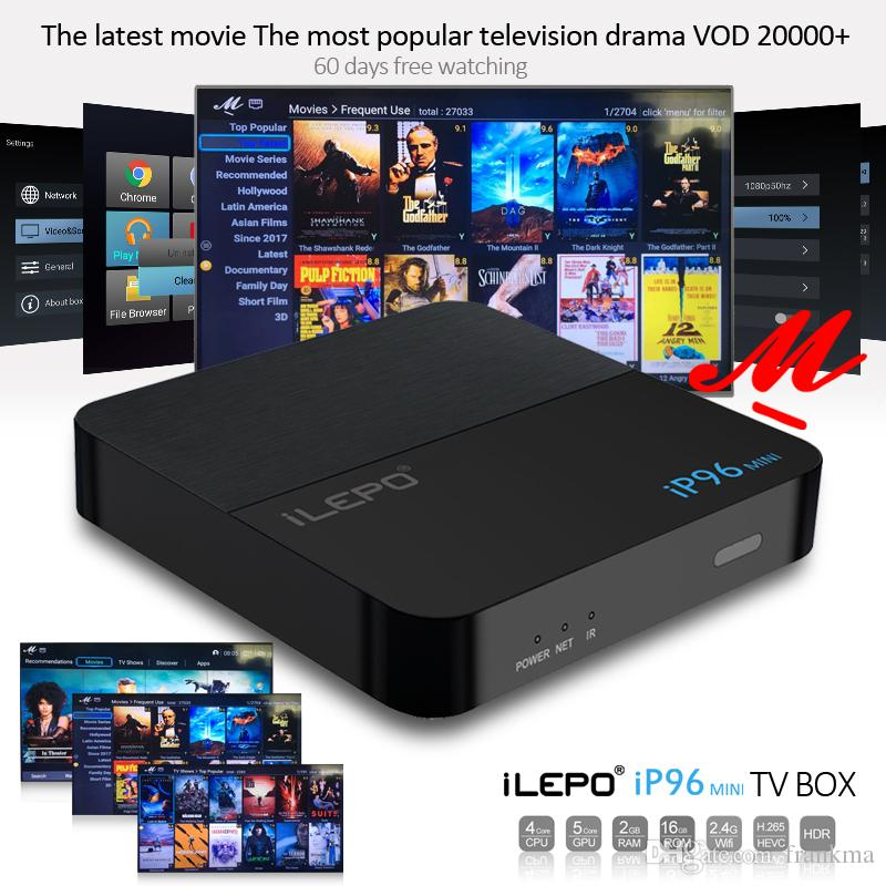 iLEPO IP96 Mini Android TV Box 2GB 16GB Amlogic S905W Android 7.1 With 20000+ Free Vod Quad Core Media Player Better TX3 X96 mini S912