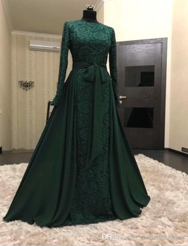 74d81e1121 Dark Green Muslim Long Evening Dresses 2018 Arabic Long Sleeves Lace Hijab  Dresses With Detachable Skirt Robe De Soiree Longue Dubai Gowns White  Evening ...