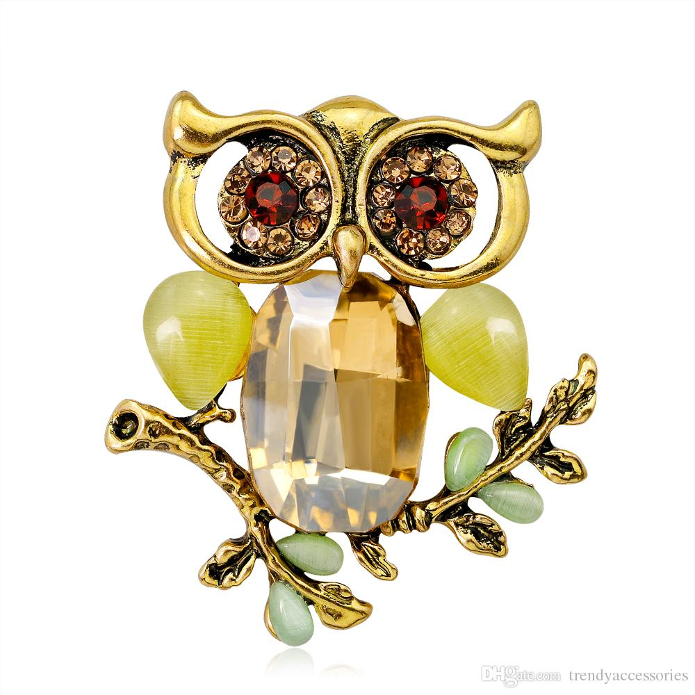 Mix colors New Arrival Rhinestone Owl Brooch Gold Plated Crystal Rhinestone animal Brooch For Women Fashion Jewelry