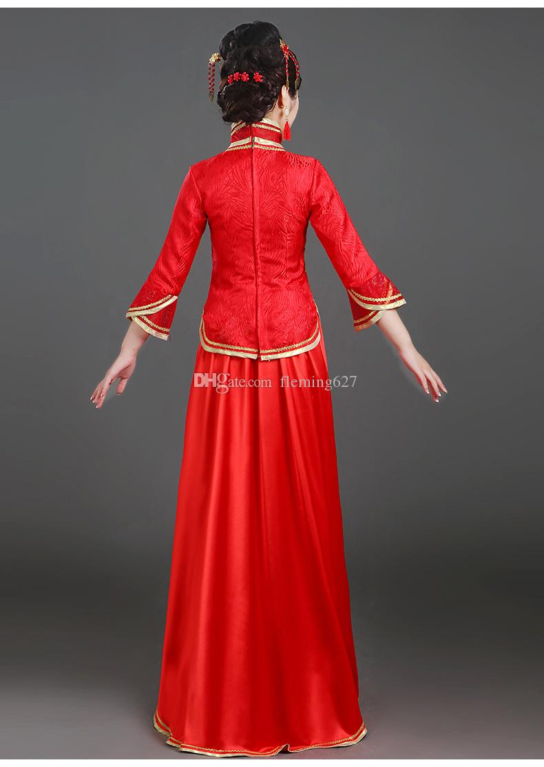 Chinese traditional female Tang suit dress Chinese style performance clothing classical folk dance Costume women elegant stage wear