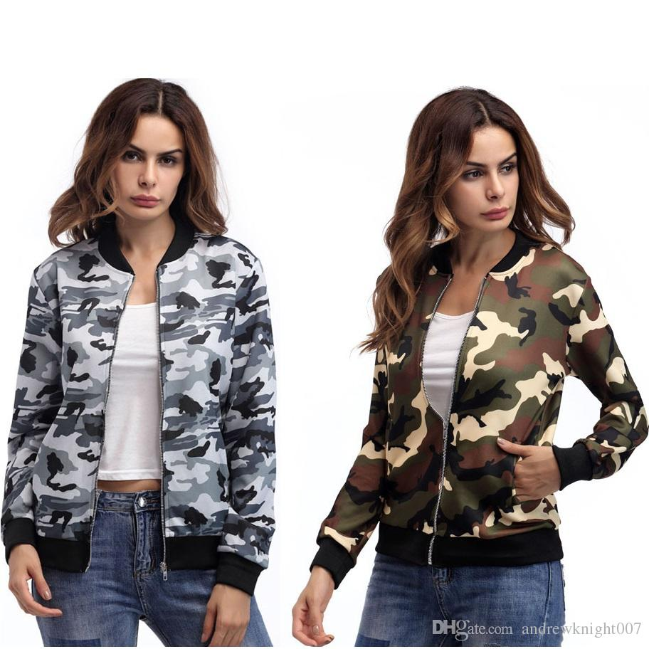 36cbcae70f8 Hot Sale New Women Camouflage Gray Army Green Zipper Tropical Floral Print  Pockted Bomber Jacket Coat Outwear Plus Size 2XL Overcoats Kids Leather  Jackets ...
