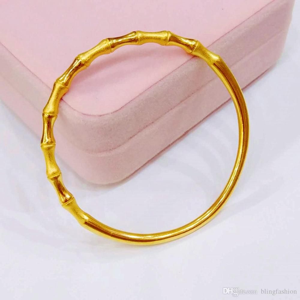 Bamboo Design Unopened Bangle Solid 18k Yellow Gold Filled Classic Style Fashion Womens Bangle Bracelet Dia 6cm