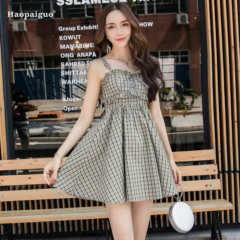 c9665c9987 Plus Size A Line Dress Summer Women Plaid Spaghetti Strap Sleeveless  Strapless Ruffles Casual Beach Dress Korean Ladies Dresses Party Dress  Sleeves Long ...