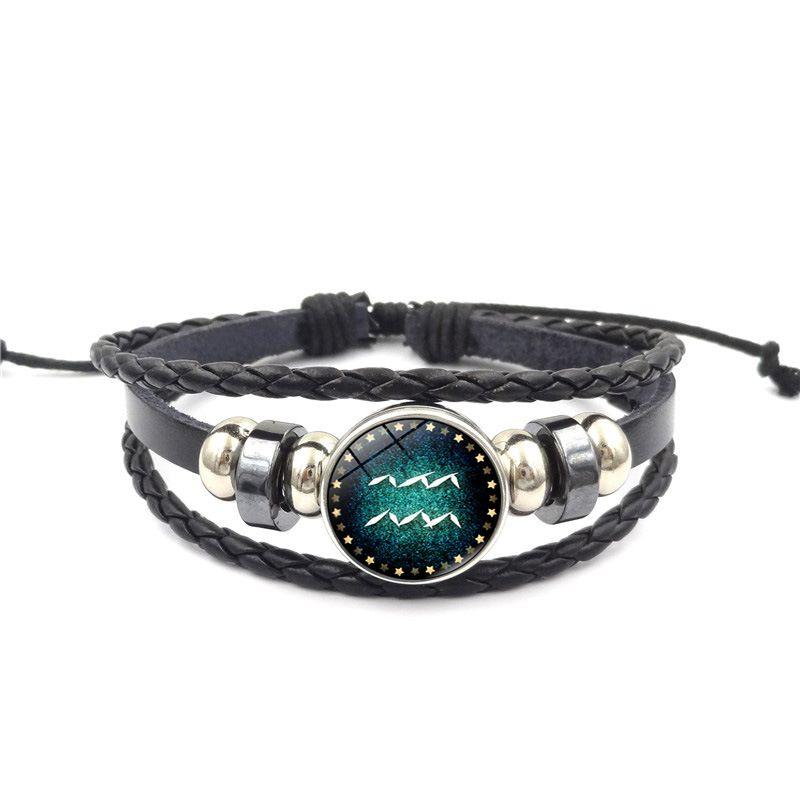 Vente chaude 12 Constellation Bracelet Hommes Femmes Tressé En Cuir Bracelets Bracelets Couple Bracelet Meilleur Cadeau Gratuit DHL D601S