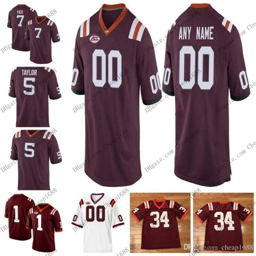 17ae41b5c49 2019 Virginia Tech Hokies NCAA College Football #7 Michael Vick 5 Tyrod  Taylor 17 Kam Chancellor 25 Frank Beamer White Red Stitched Jersey From  Cheap1688, ...