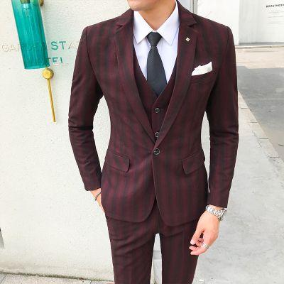 Compre 3 Piezas   Set Traje De Hombre Con Pantalones Chaleco Retro Rayas  Trajes De Boda Para Los Hombres Del Diseñador Slim Fit Más El Tamaño 5XL  Asia ... 93d249ba712