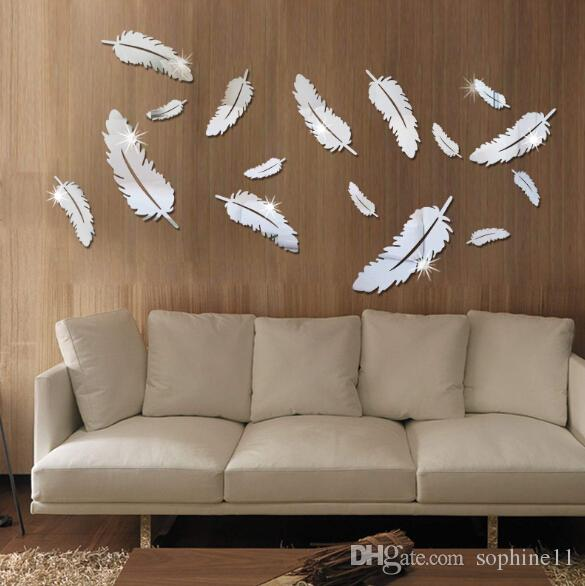 feather designed 3d mirror wall stickers 3d feathers mirror wall