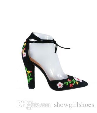 29849a4198ed Embroidered Black Suede Block Heels Women Shoes Rome Style Lace Up Women  Pumps Sexy Pointed Toe High Heels Sandals High Heel Shoes Wholesale Shoes  From ...
