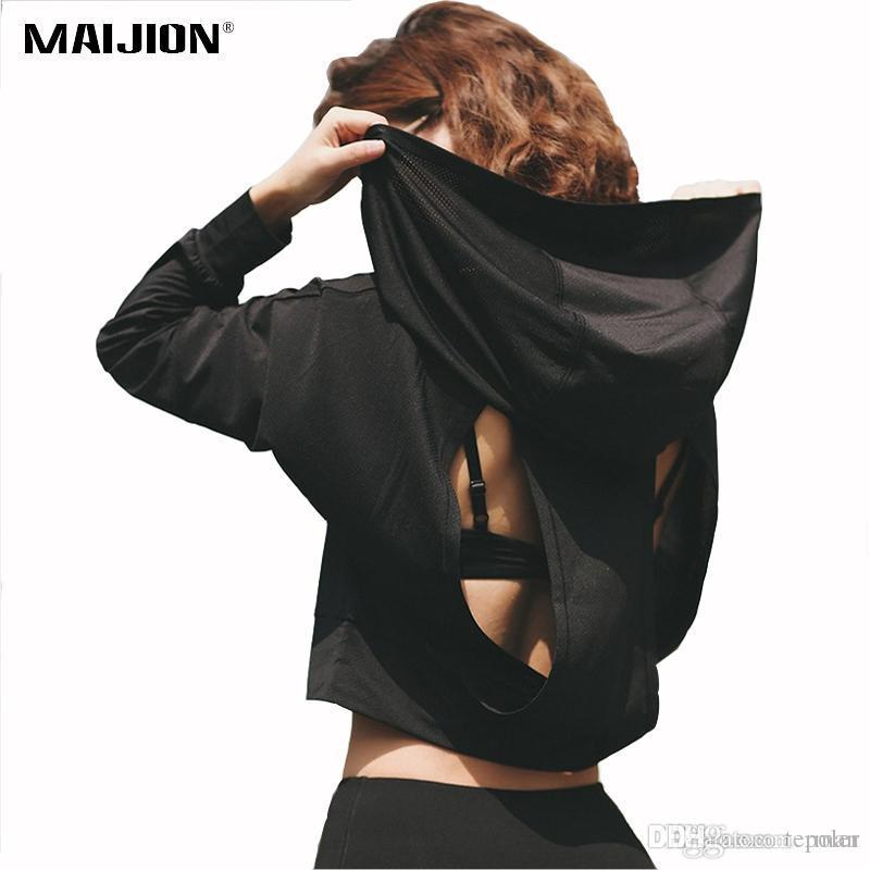 a1039bdf60c171 2019 MAIJION Breathable Hooded Running Yoga Shirts Quick Dry Fitness Yoga  Sport Tops Jersey Open Back Gym Workout Long Sleeve T Shirt From Poler