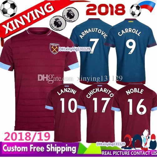 651e57d09ee02 2018 2019 West Ham United Camisetas De Fútbol Casa Rojo Away Azul 18 19  ARNAUTOVIC Maillot LANZINI CARROLL NOBLE CHICHARITO Camiseta De Fútbol Por  ...
