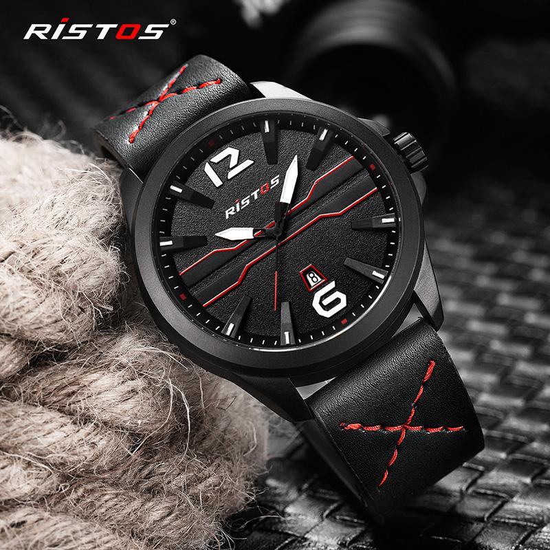 a9db8a50a78e RISTOS Fashion Auto Date Sport Mens Watches Man Leather Quartz Watch Reloj  Hombre Clock Male Wristwatches Relogio Masculino 9356 Nice Watches Low  Price ...