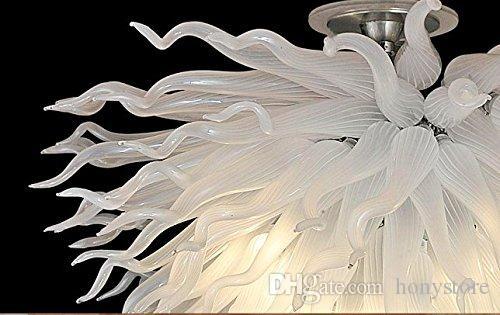 미국 스타일 샹들리에 램프 우수 품질 화이트 호텔 로비 핸드 블로우 유리 샹들리에 장식 아트 조명