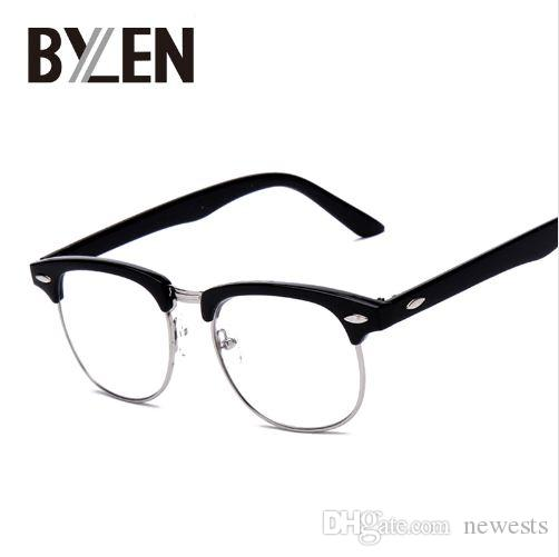 9e3f141a29 Vintage Eyeglasses Women Semi-rimless Reading Plain Glass Spectacles ...