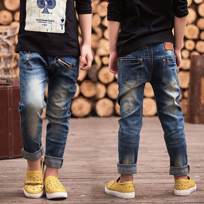 2018 Children's clothing autumn trousers children baby pants Slim Personality Boys jeans, Boys zipper jeans