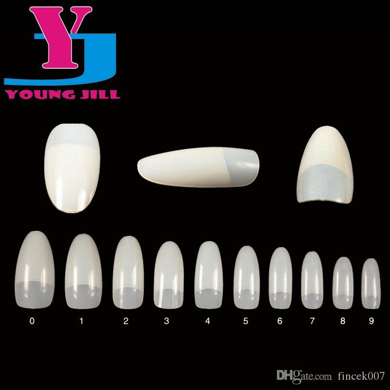 Nail Art Tips Natural White Round End Oval False Nails Long French