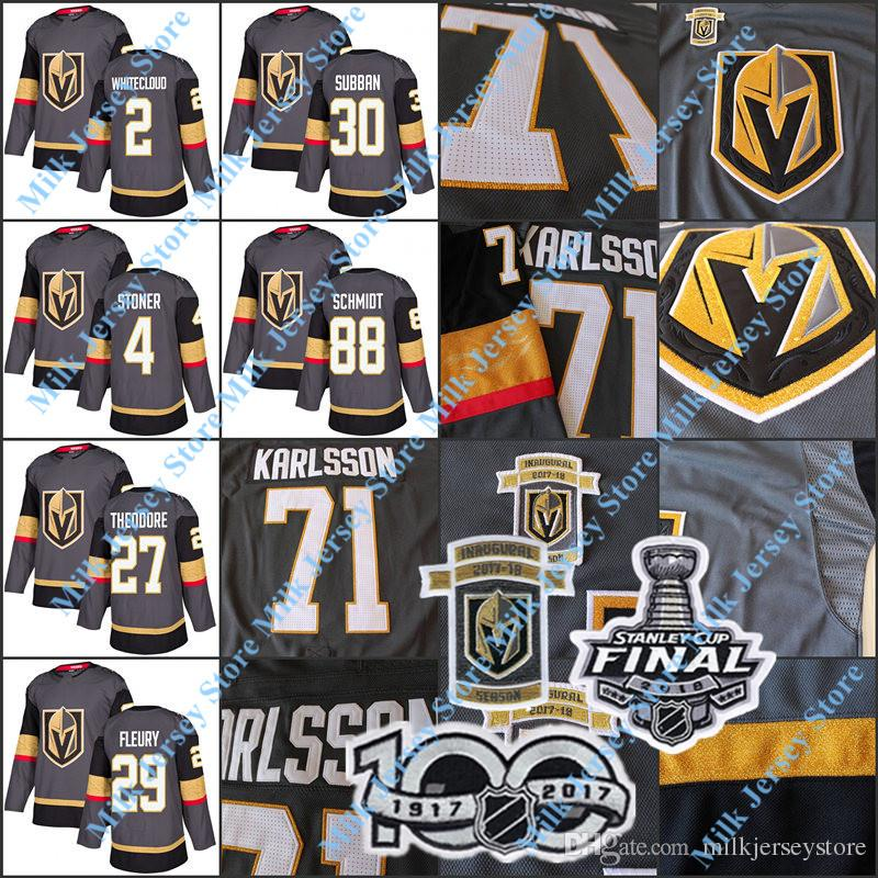 55cb23b26 2019 Vegas Golden Knights Jersey Nate Schmidt Clayton Stoner Shea Theodore  Zach Whitecloud Marc Andre Fleury Malcolm Subban Dylan Ferguson From ...