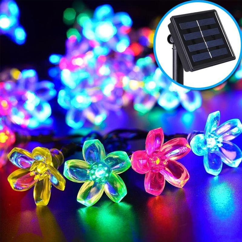 Selling 7 meters 50LED solar String Light Peach cherry Christmas garden decorative lanterns factory outlets