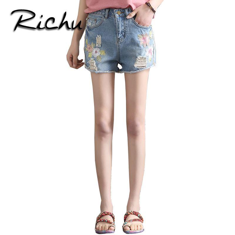 bd65dc407bd Richu fashion lady MID waist denim jeans shorts white blue elastic trousers  female bottom clothes