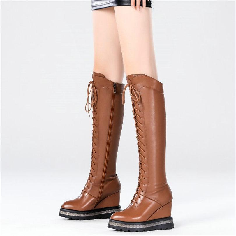cf252c2b267 NAYIDUYUN Thigh High Boots Women Cow Leaher Lace Up Strappy Knee High Riding  Booties Wedges Heel Pumps Platform Oxfords Slipper Boots Ankle Booties From  ...
