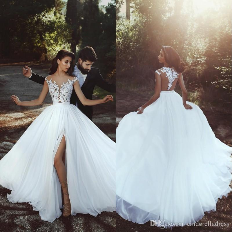 7aa8e0a29e9d1 2018 Beach Cheap Plus Size Wedding Dresses Cap Sleeves Bateau Neck A Line  Split Side Chiffon Backless Bridal Dress Under 70 For Maternity Wedding  Dress Lace ...