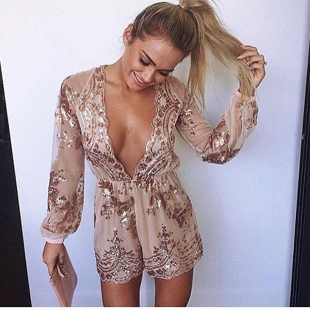 27dc6b68a3f5 2018 Hot Selling Christmas Party Deep V Long Sleeve Sexy Jumpsuit Ladies  Dressed White Floral Sundress From Bestshirt009, $44.78| DHgate.Com