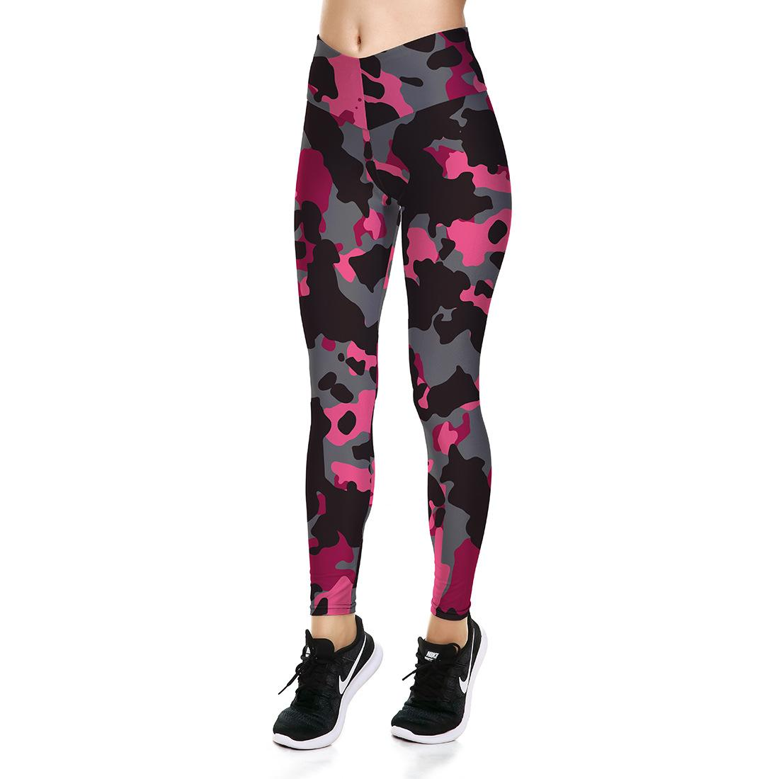 9c32963c5b0d4 Women's High-waisted Yoga Pants Pink camouflage Printed Leggings For Gym  Fitness Sports Pants LGS31-032