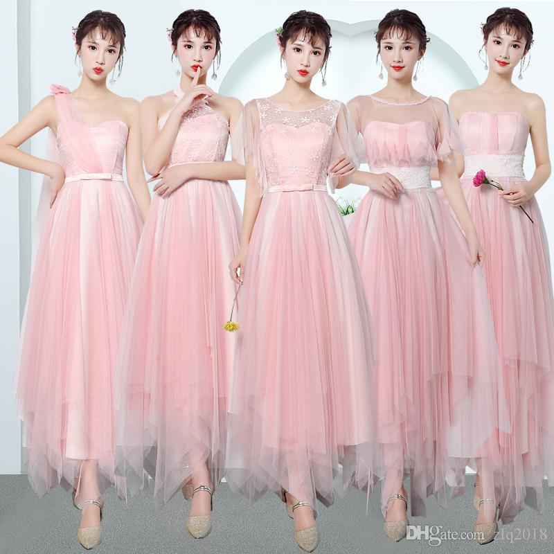 2018 Country Style Short Bridesmaid Dresses Light Pink 4 Style Neck Cheap Asymmetrical Lace Ruched Backless Summer Boho Dresses