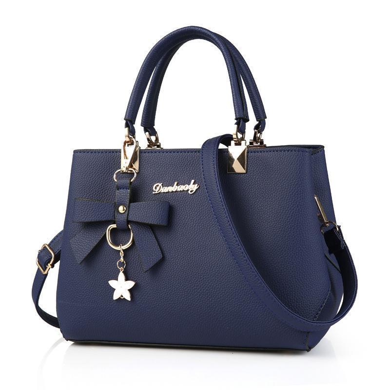 Frauen 2 Stücke Sets Handtasche Mode Umhängetasche Satchel Krokodilmuster Einkaufstasche Geldbörse Multicolor,Blue-M Addora