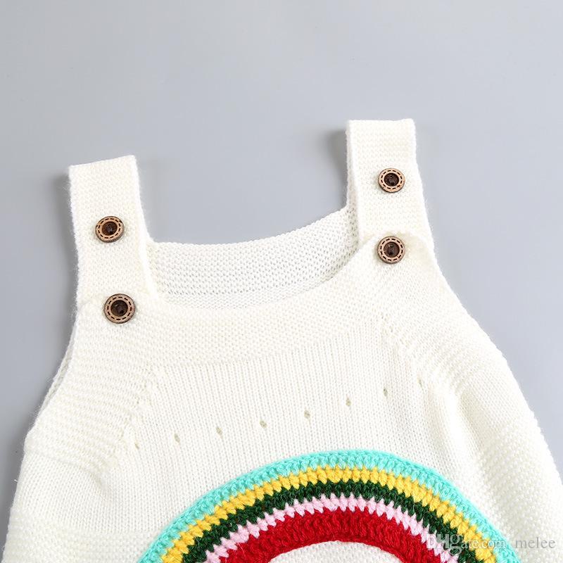 INS дети девушки Радуга хлопок платья новорожденных девочек вязаный свитер суспендер юбка весна осень Детская одежда 1-4 лет свободный корабль