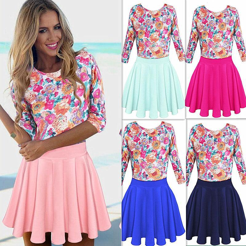 f99a6fff71ac Summer New Floral Print Candy Color Dress Women Sexy Stitching Tight Dresses  Sleeve Round Neck Dress Pleated Skirt Blouse Tops Mini Dress Formal Gown  Prom ...