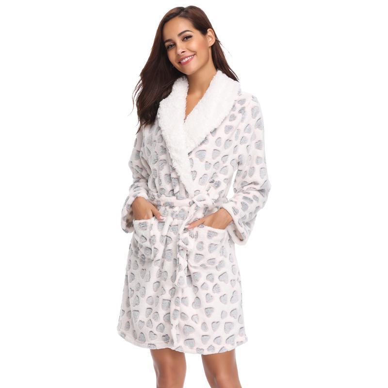 Women Teddy Fleece Robe Female Bathrobe Home Clothes Kimono ...