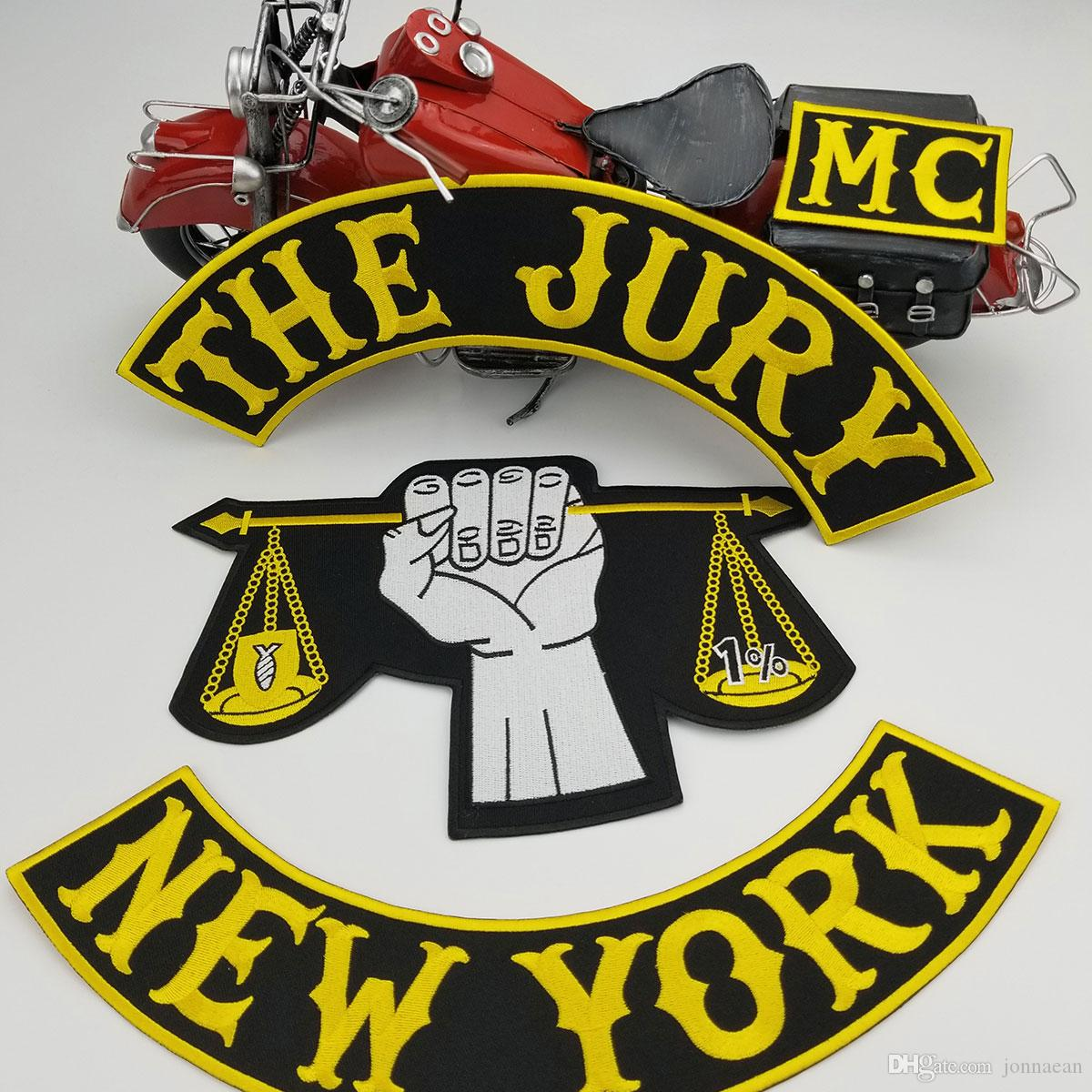 HOT SALE COOLEST THE JURY NEW YORK MOTORCYCLE CLUB VEST OUTLAW BIKER MC COLORS PATCH
