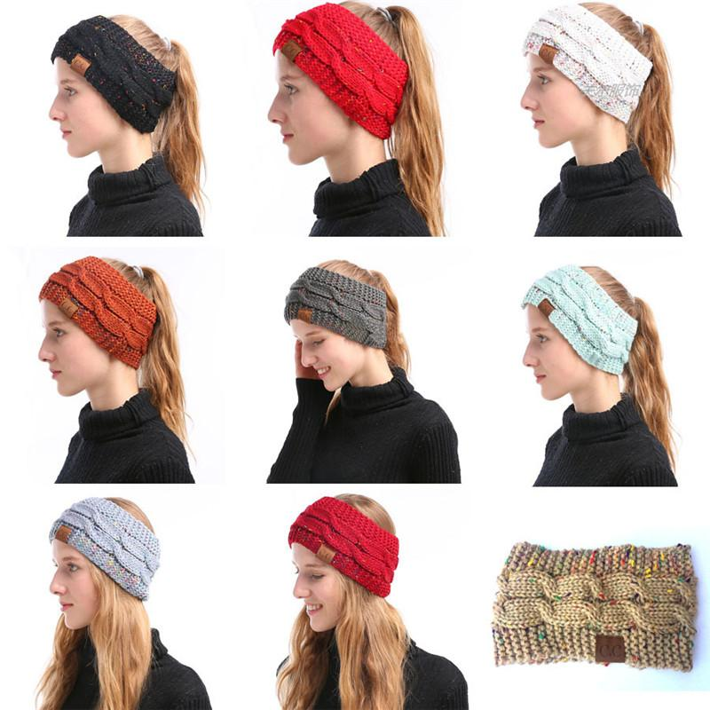 CC de punto de las vendas de las mujeres Winter Headwrap Hairband Crochet Turbante de la venda Wrap CC Colorful Ear Warmer Headband Hair Accessories 9 colores