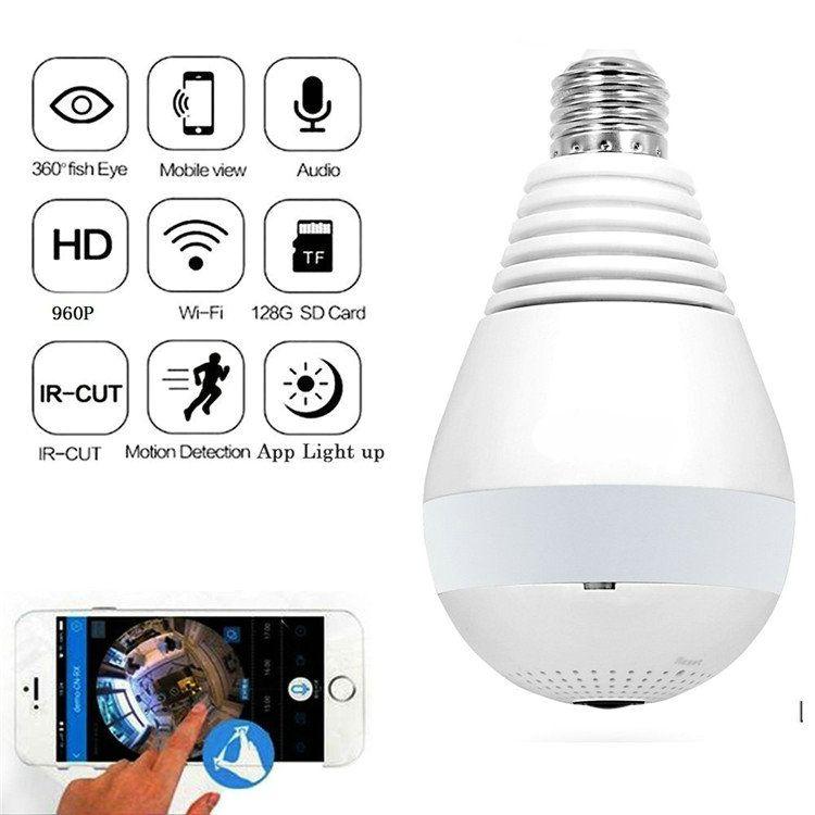 E27 Bulb Light 360 Degree Wireless IP Camera WIFI Fisheye 1080P 2.0MP Mini CCTV Panoramic Camera Home Security System Camcorder