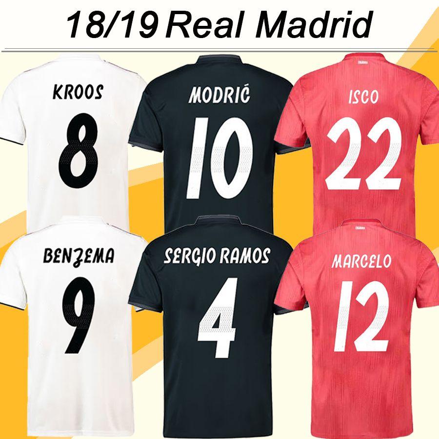 Acheter 2018 19 VINICIUS JR BENZEMA KROOS Maillots De Football ISCO BALE  MARCELO Maillots De Football Nouveau Real Madrid SERGIO RAMOS MODRIC Home  Away 3ème ... a17904c082cac