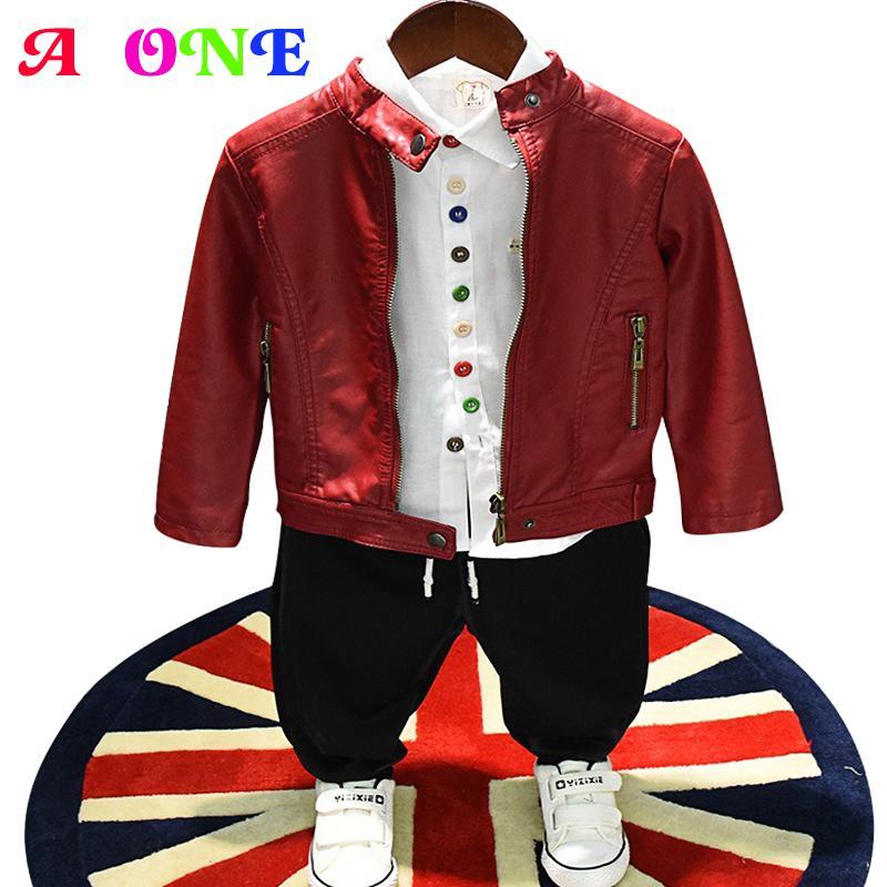 efcbef434 Autumn Spring Solid Rivet Zipper Baby Boys PU Jacket Kids Designer Coat  Children Fashion Outwear 2 To 7 Yrs Kids Jackets Boys Rain Jacket Boy  Jackets From ...