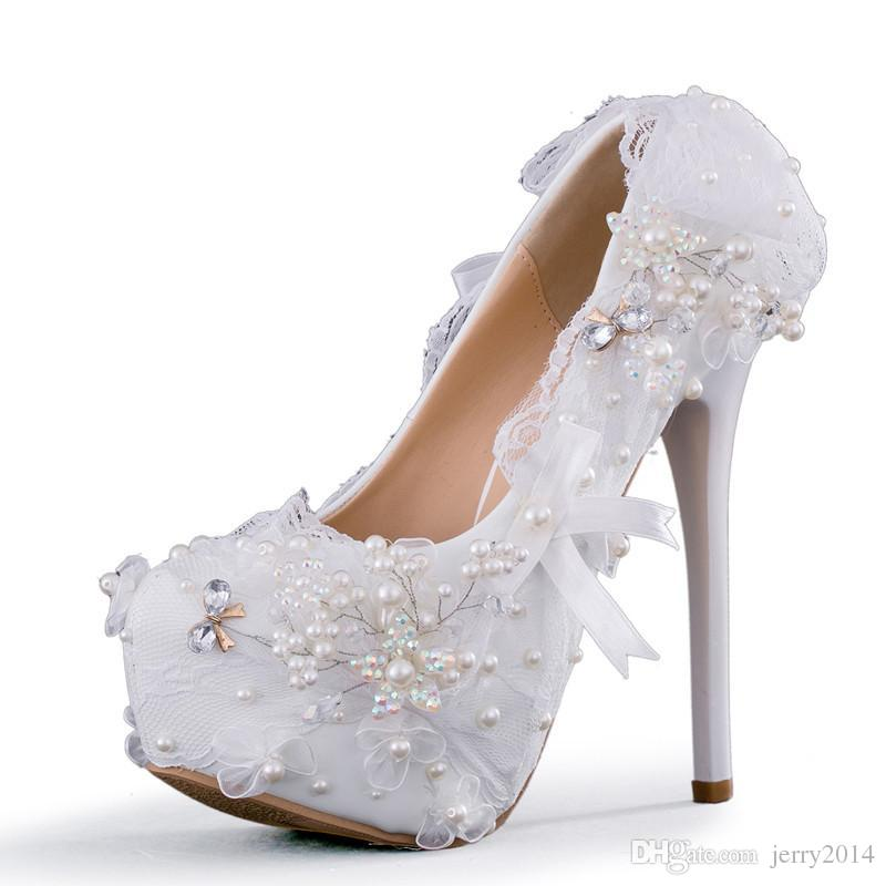 New Handmade Fashion Round Toe Shoes For Women Princess Lace Bow High Heel  Wedding Shoes White Pearls Super Heels Plus Size Bride Shoes Munro Shoes  Vegan ... b939f1afc18e