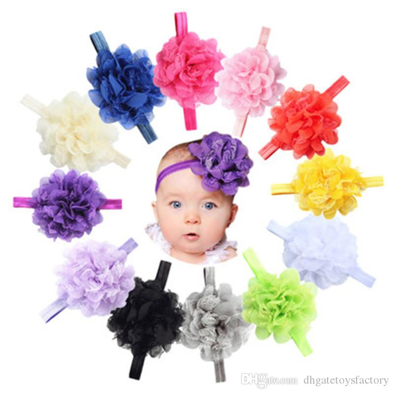 18 cm Net Lace Chiffon Flower Hair Accessories Hot Sale Fashion Multi-color Children Headbands Hair Sticks Elastic For Infant Girls
